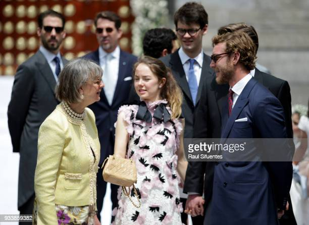 Pierre Casiraghi talks with Princess Alexandra of Hanover and a guest during the wedding of Prince Christian of Hanover and Alessandra de Osma at...