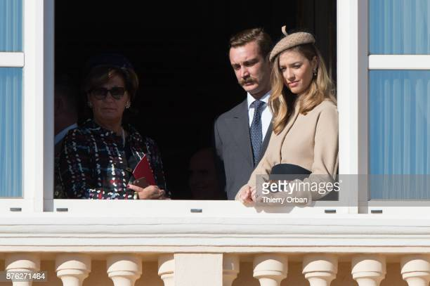 Pierre Casiraghi with Beatrice Casiraghi greet the crowd from the palace's balcony during on November 19 2017 in Monaco Monaco