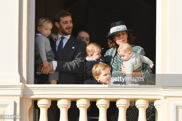 Pierre Casiraghi with his son Stefano Casiraghi and Princess Caroline of Hanover attend Monaco National Day Celebrations on November 19 2018 in...