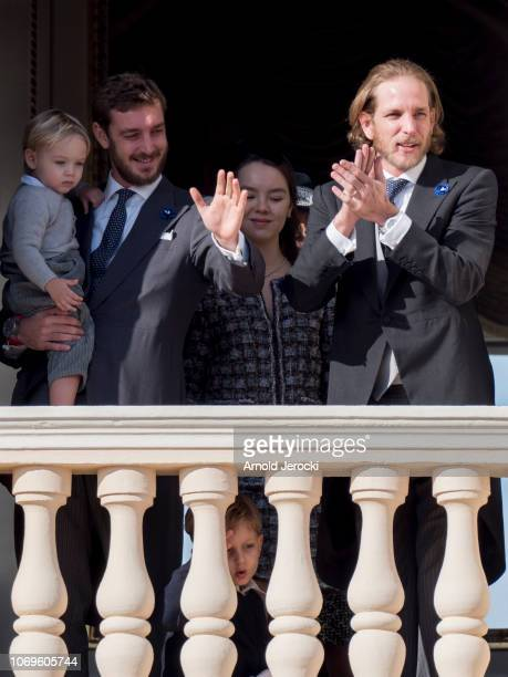 Pierre Casiraghi with his son Stefano Casiraghi and Princess Alexandra of Hanover and Andrea Casiraghi attend Monaco National Day Celebrations on...