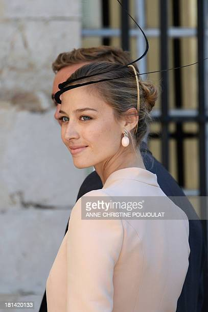 Pierre Casiraghi's girlfriend Beatrice Borromeo arrives at the Wedding Ceremony of Prince Felix of Luxembourg with German student Claire Lademacher...