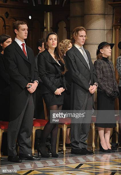 Pierre Charlotte Andrea Casiraghi and Baroness ElisabethAnne de Massy attend a Mass at the Cathedral during Monaco's National Day celebrations on...