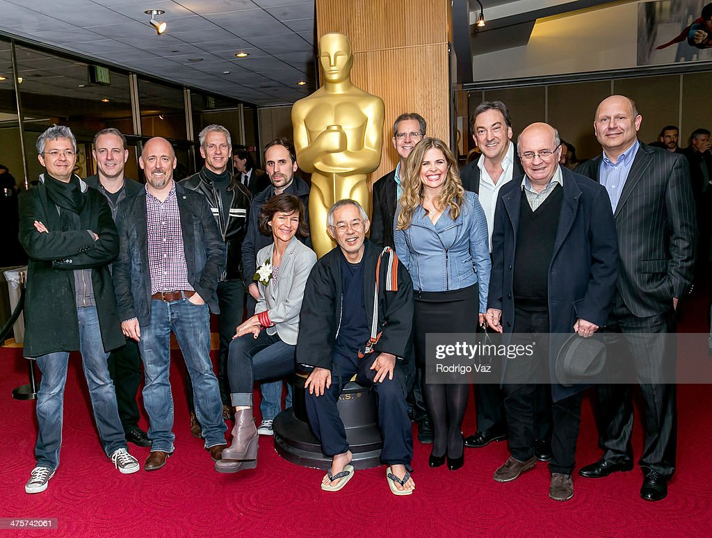 Pierre Coffin, Kirk DeMicco, Chris Renaud, Chris Sanders, Kristine Belson, Benjamin Renner, Toshio Suzuki, Chris Buck, Jennifer Lee, Peter Del Vecho, Didier Brunner and Chris Meledandri attend the 86th Annual Academy Awards Oscar Week Celebrates Animated Features at AMPAS Samuel Goldwyn Theater on February 28, 2014 in Beverly Hills, California.