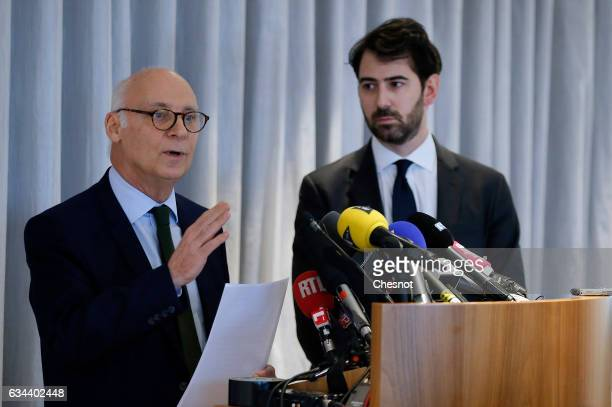 Pierre Cornut-Gentille , lawyer of Penelope Fillon, flanked by Antonin Levy , lawyer for Francois Fillon, French presidential election candidate for...