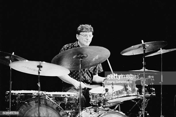 Pierre Courbois, drums, performs at the BIM Huis on 27th May 1995 in Amsterdam, Netherlands.