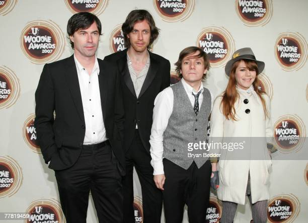 Pierre de Reeder Jason Boesel Blake Sennett and Jenny Lewis of the band Rilo Kiley attend the 2007 mtvU Woodie Awards at Roseland Ballroom November 8...