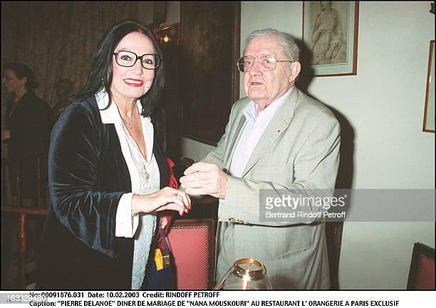 Pierre Delanoe 'Nana Mouskouri' wedding dinner at the restaurant 'L'Orangerie' in Paris