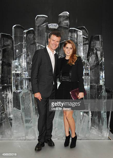 Pierre Denis CEO of Jimmy Choo and Princess Beatrice of York attend the dinner hosted by Sandra Choi Creative Director of Jimmy Choo to unveil Jimmy...