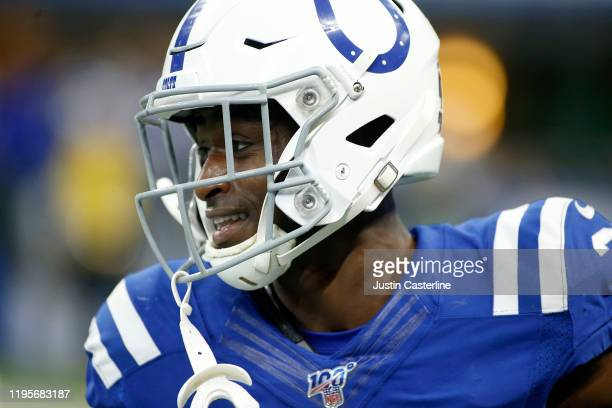 Pierre Desir of the Indianapolis Colts celebrates after a interception in the game against the Carolina Panthers at Lucas Oil Stadium on December 22,...