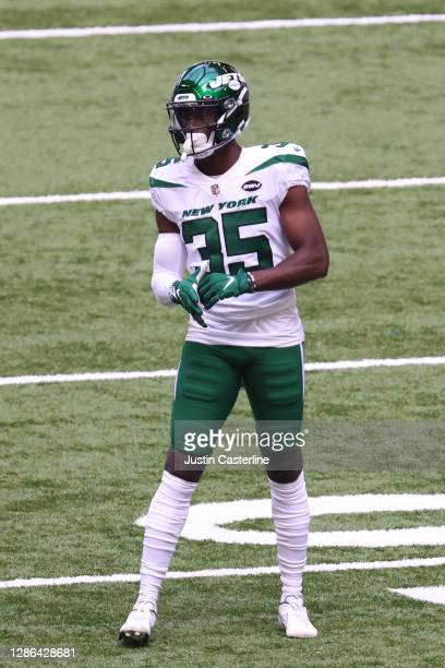 Pierre Desir of the New York Jets on the field in the game against the Indianapolis Colts at Lucas Oil Stadium on September 27, 2020 in Indianapolis,...