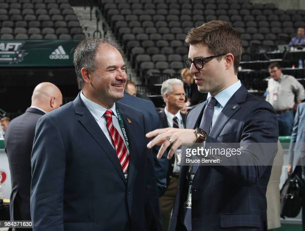 Pierre Dorion and Kyle Dubas attend the 2018 NHL Draft at American Airlines Center on June 23, 2018 in Dallas, Texas.