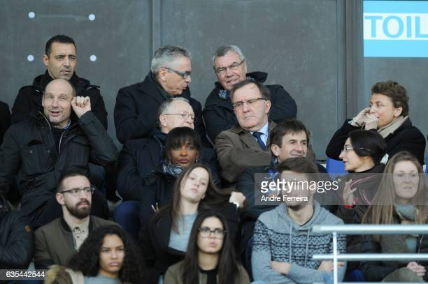 Pierre Dreossi of Paris FC and Jean Michel Aulas president of Lyon and Pierre Ferracci president of Paris FC and Marie Christine Terroni president of...