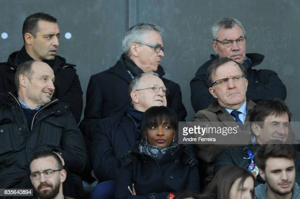 Pierre Dreossi of Paris FC and Jean Michel Aulas president of Lyon and Pierre Ferracci president of Paris FC during the Women's Division 1 match...