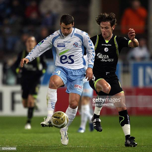 Pierre Ducrocq and Steve Savidan during the French Ligue 1 soccer match between RC Strasbourg and Valenciennes FC