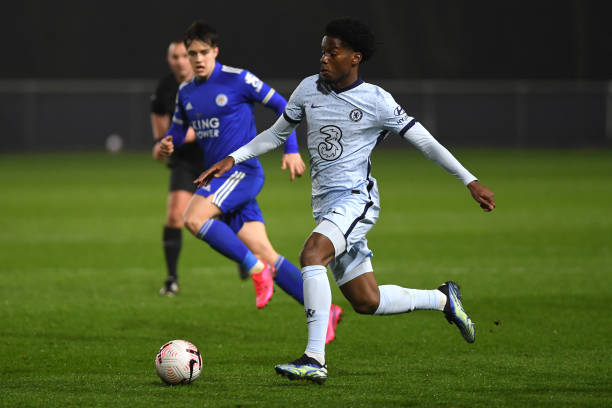 Pierre Ekwah of Chelsea during the Leicester v Chelsea Premier League 2 match on March 1, 2021 in Loughborough, England.