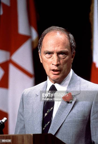 Pierre Elliott Trudeau gives a speech in Canada He was first elected to the Canadian Parliament as a member of the Liberal party in 1965 and then...