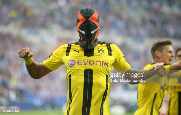 Pierre Emerick Aubameyang celebrates as he scores the goal with a mask nike during the Bundesliga match between FC Schalke 04 and Borussia Dortmund...