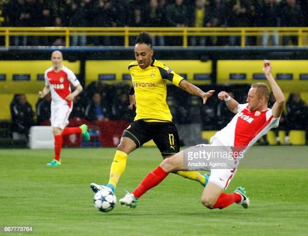 Pierre Emerick Aubameyang of Borussia Dortmund in action against Kamil Glik of AS Monaco during the UEFA Champions League QuarterFinal soccer match...