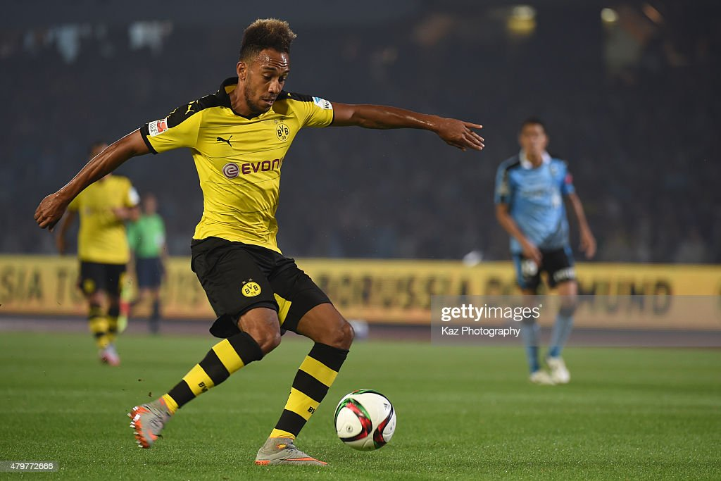 Pierre Emerick Aubameyang of Borussia Dortmund scores 3rd goal during the preseason friendly match between Kawasaki Frontale and Borussia Dortmund at Todoroki Stadium on July 7, 2015 in Kawasaki, Kanagawa, Japan.