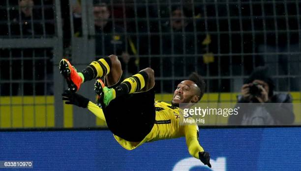Pierre Emerick Aubameyang of Dortmund celebrates after he scores the opening goal during the Bundesliga match between Borussia Dortmund and RB...