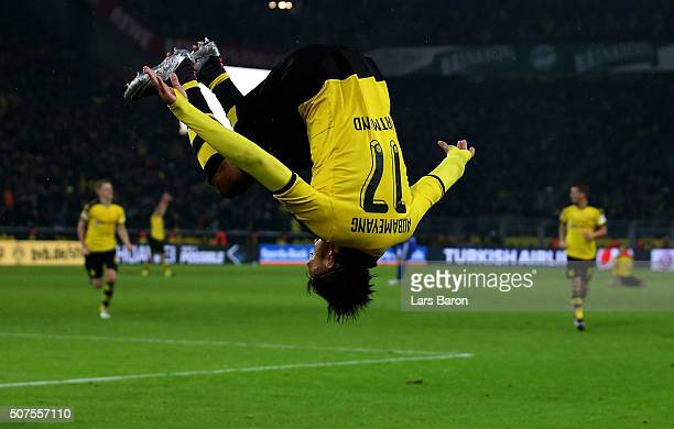 Pierre Emerick Aubameyang of Dortmund celebrates after scoring his teams second goal during the Bundesliga match between Borussia Dortmund and FC...