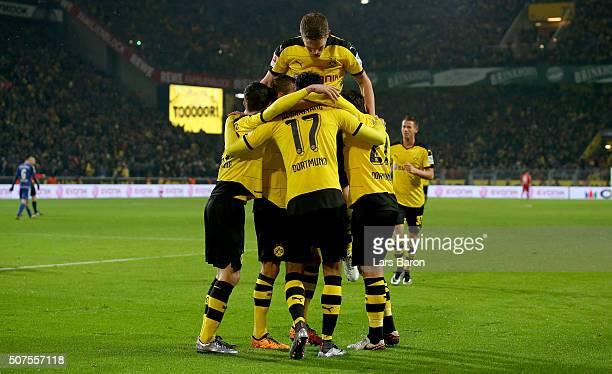 Pierre Emerick Aubameyang of Dortmund celebrates after scoring his teams second goal during the Bundesliga match between Borussia Dortmund and FC...