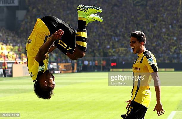 Pierre Emerick Aubameyang of Dortmund celebrates after scoring his teams first goal during the Bundesliga match between Borussia Dortmund and 1 FSV...