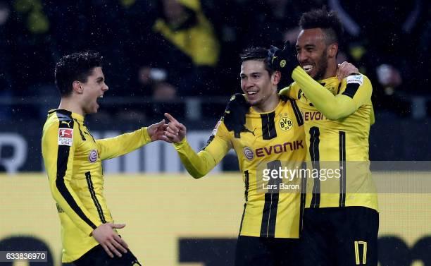 Pierre Emerick Aubameyang of Dortmund celebrates after scoring his teams first goal during the Bundesliga match between Borussia Dortmund and RB...