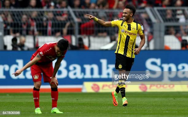 Pierre Emerick Aubameyang of Dortmund celebrates after scoring his teams second goal during the Bundesliga match between Borussia Dortmund and Bayer...