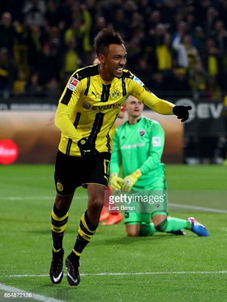 Pierre Emerick Aubameyang of Dortmund celebrates after scoring his teams first goal during the Bundesliga match between Borussia Dortmund and FC...