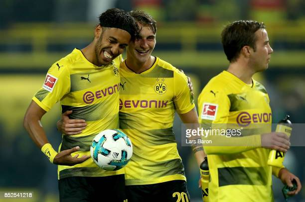 Pierre Emerick Aubameyang of Dortmund celebrates with Maximilian Philipp during the Bundesliga match between Borussia Dortmund and Borussia...
