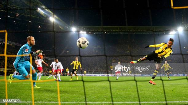 Pierre Emerick Aubameyang of Dortmund heads his teams winning goal during the Bundesliga match between Borussia Dortmund and RB Leipzig at Signal...