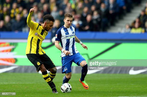 Pierre Emerick Aubameyang of Dortmund scores his teams first goal during the Bundesliga match between Hertha BSC and Borussia Dortmund at...