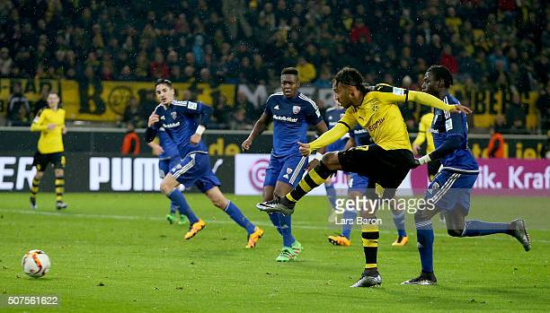 Pierre Emerick Aubameyang of Dortmund scores his teams second goal during the Bundesliga match between Borussia Dortmund and FC Ingolstadt at Signal...