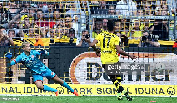 Pierre Emerick Aubameyang of Dortmund scores his teams second goal during the Bundesliga match between Borussia Dortmund and 1 FSV Mainz 05 at Signal...