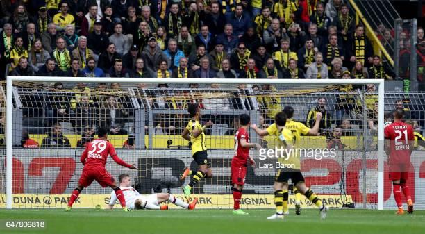 Pierre Emerick Aubameyang of Dortmund scores his teams second goal during the Bundesliga match between Borussia Dortmund and Bayer 04 Leverkusen at...