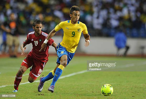 Pierre Emerick Aubameyang of Gabon and Gonzalez Mehdi Francois Carcela of Morocco during the 2012 African Cup of Nations Group C match between Gabon...