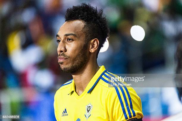 Pierre Emerick Aubameyang of Gabon during the African Nations Cup match between Cameroon and Gabon at Stade de L'Amitie on January 22 2017 in...