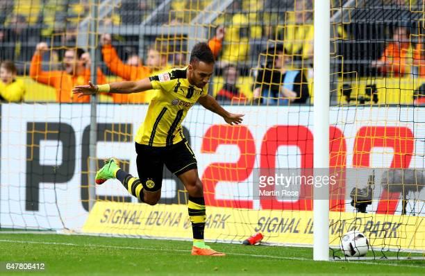 Pierre Emerick Aubameyng of Dortmund celebrates after he scores the 2nd goal during the Bundesliga match between Borussia Dortmund and Bayer 04...