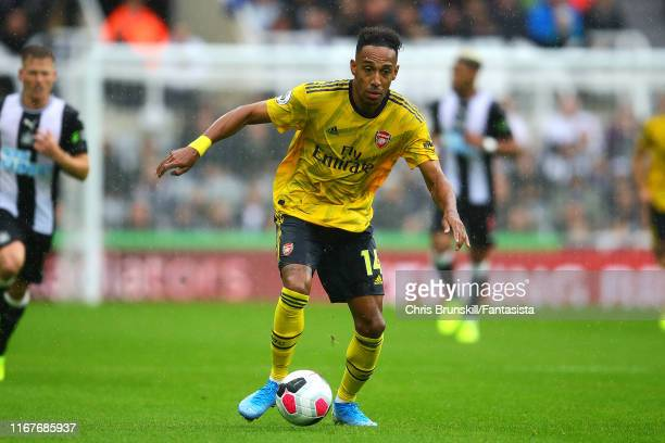 Pierre Emerick Aubayemang of Arsenal in action during the Premier League match between Newcastle United and Arsenal FC at St James Park on August 11...