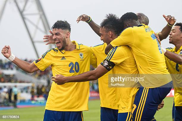 Pierre Emerick Emiliano François Aubameyang and Athanase Dénis Bouanga celbrating the goal during the second half at African Cup of Nations 2017...