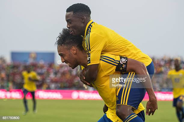 Pierre Emerick Emiliano François Aubameyang celebrating his goal to 10 during the second half at African Cup of Nations 2017 between Gabon and...