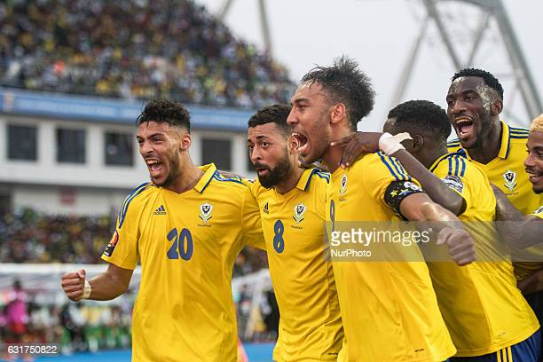 Pierre Emerick Emiliano François Aubameyang celebrating with the teams mates during the second half at African Cup of Nations 2017 between Gabon and...