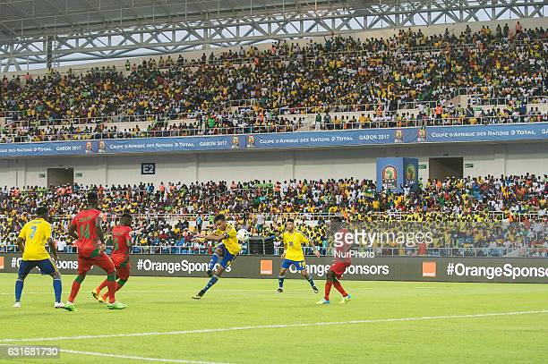 Pierre Emerick Emiliano François Aubameyang trying to score during the second half at African Cup of Nations 2017 between Gabon and GuineaBissau at...