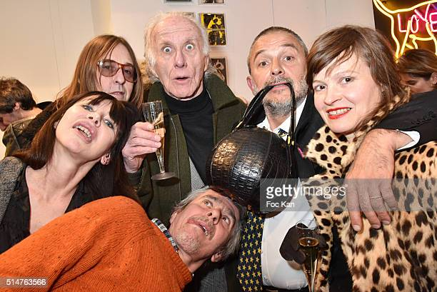 Pierre Emery Gil Lesage from Ultra Orange band Jacques Fivel Aurele Lostdog and Philippine attend the WarholAurele Tribute to the American Pope of...