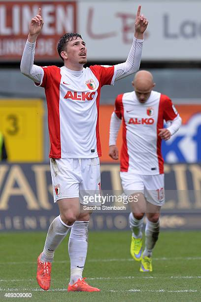 Pierre Emil Hojbjerg of Augsburg celebrates after scoring his team's first goal during the Bundesliga match between SC Paderborn 07 and FC Augsburg...