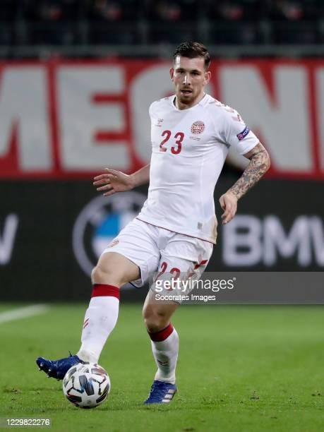 Pierre Emile Hojbjerg of Denmark during the UEFA Nations league match between Belgium v Denmark at the King Baudouin Stadium on November 18, 2020 in...