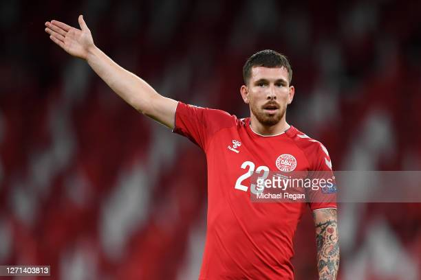 Pierre Emile Hojbjerg of Denmark gestures during the UEFA Nations League group stage match between Denmark and England at Parken Stadium on September...