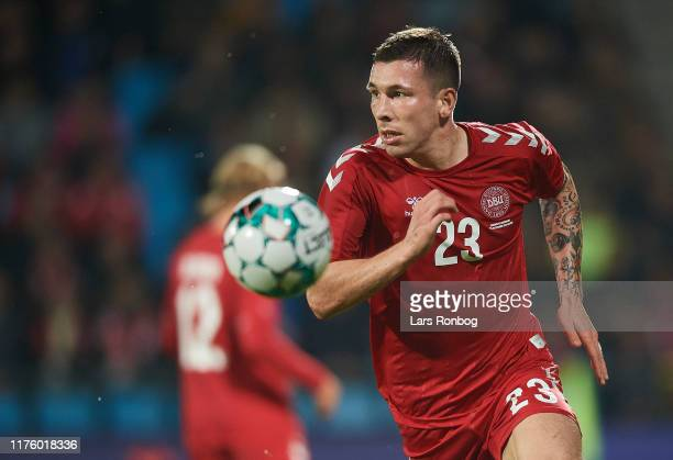 Pierre Emile Hojbjerg of Denmark in action during the international friendly match between Denmark and Luxembourg at Aalborg Portland Park on October...