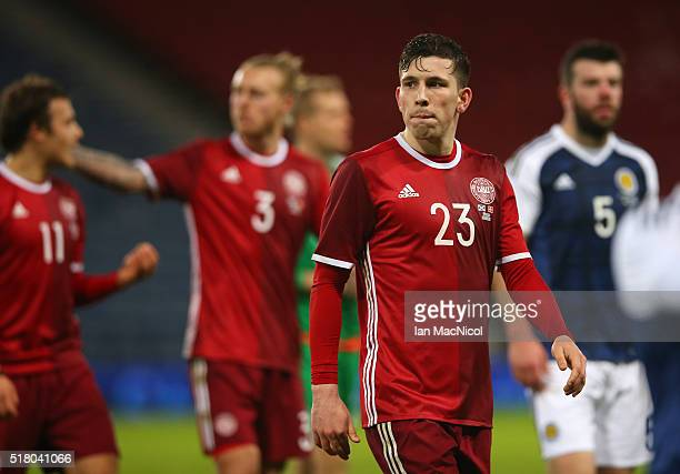 Pierre Emile Hojbjerg of Denmark leaves the field during the International Friendly match between Scotland and Denmark at Hampden Park on March 29...